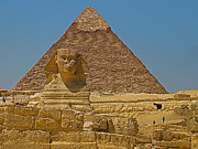 Northern Africa Digital Art Prints - The Sphinx in front of Chephren Pyramid on the Giza Plateau Print by Ruth Hager