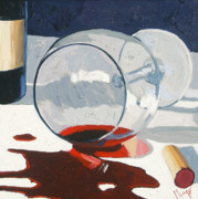 Wine Oil Posters - The Spill Poster by Christopher Mize