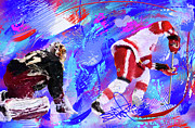 Hockey Paintings - The Spin Todd Bertuzzi by Donald Pavlica