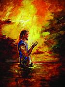 Baptism Paintings - the Spirit decended upon Him like a dove by Tommy  Winn