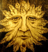Big Pyrography Prints - The Spirit Face  Print by Keven Shaffer