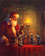 Red  Prints - The Spirit of Christmas Print by Greg Olsen