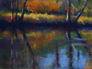 Autumn Trees Pastels Prints - The Spirit of the Rum River II Print by MaryAnn Cleary