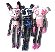 Doll Sculptures - The Spots and Dots Zombie Trio by Oddball Art Co by Lizzy Love