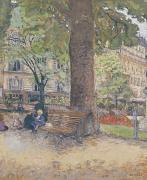 Caring Mother Painting Prints - The Square at Vintimille Print by Edouard Vuillard
