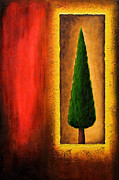 Cypress Tree Digital Art Framed Prints - The Square Halo  Framed Print by Mauro Celotti