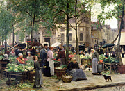 Town Square Painting Posters - The Square in front of Les Halles Poster by Victor Gabriel Gilbert