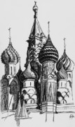 Moscow Drawings - The St Basils Cathedral by Jason Yaw