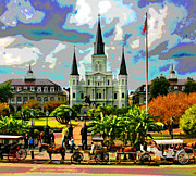 Carriages Digital Art Framed Prints - The St. Louis Cathedral and Jackson Square Framed Print by Les Mayers