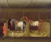 Chestnut Horse Paintings - The Stables and Two Famous Running Horses belonging to His Grace - the Duke of Bolton by James Seymour