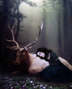Mystical Metal Prints - The Stag Metal Print by Karen Koski