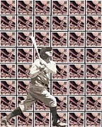 Babe Mixed Media Framed Prints - The Stamp Collection - Babe Ruth Framed Print by Spencer McKain