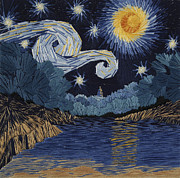 Impressionism Tapestries - Textiles Framed Prints - The Starry Night at Barton Springs Framed Print by Barbara Lugge