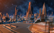 The Stars Shine Bright Over New York City Print by Heinz G Mielke