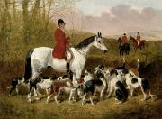 Hounds Painting Framed Prints - The Start  Framed Print by John Frederick Herring Snr
