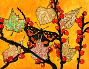 Black Berries Painting Framed Prints - The Start Of Fall Framed Print by Connie Valasco