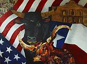 Bulls Mixed Media Originals - The State of the Union by Karen Rester