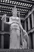 Nike Photo Posters - The Statue of Athena BW Poster by Linda Phelps