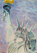 Landmark Drawings - The Statue of Liberty by Eva Ason