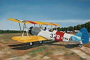 Biplane Paintings - The Stearman by Kenneth Young