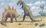 National Geographic Society Art Prints - The Stegosaurus Has Armor To Protect Print by Charles R. Knight