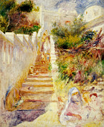 Impressionism Posters - The Steps in Algiers Poster by Pierre Auguste Renoir