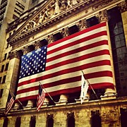 Skyline Framed Prints - The Stock Exchange Gets Patriotic Framed Print by Luke Kingma
