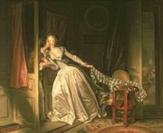 Silk Paintings - The Stolen Kiss by Jean-Honore Fragonard