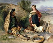 Sitting On Rock Prints - The Stone Breaker and his Daughter Print by Sir Edwin Landseer
