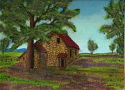 Stone Cottage Paintings - The Stone Farm House by Ray Ratzlaff