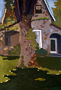 Greens Paintings - The STONE HOUSE ON LAUGHING WATERS by Charlie Spear