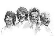 The Rolling Stones Art - THE STONES Drawing by Michael Essex