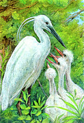 Beasts Paintings - The Stork - a Symbol of Childbirth by Natalie Berman