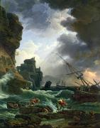 Sunset Scenes. Painting Posters - The Storm Poster by Claude Joseph Vernet