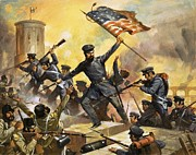 Us Flag Paintings - The storming of the fortress at Chapultec by English School
