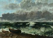 Crashing Surf Paintings - The Stormy Sea by Gustave Courbet