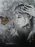 Charcoal Pastels Prints - The Story of Me Print by Carla Carson