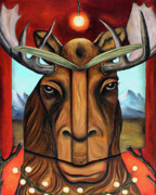 Surreal Landscape Painting Metal Prints - The Story of Moose Metal Print by Leah Saulnier The Painting Maniac