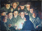 Wwi Painting Originals - The Story Teller by Leonie Bell