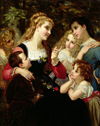 Smiling Painting Posters - The Storyteller Poster by Hugues Merle