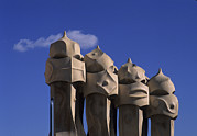 Antoni Gaudi Prints - The Strangely Shaped Rooftop Chimneys Print by Taylor S. Kennedy