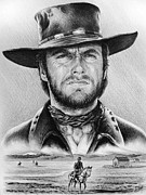 Westerns Drawings - The Stranger bw 2 version by Andrew Read