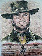 Cowboy Pencil Drawings Framed Prints - The Stranger  Coloured pencil version Framed Print by Andrew Read