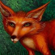 Vixen Paintings - The Stranger by Helena Rose