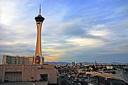 Restaurant On Top Posters - The Stratosphere in Las Vegas Poster by Susanne Van Hulst