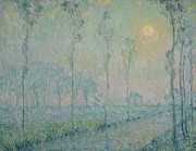Tree Lines Painting Posters - The stream at sunset Poster by  Henri Eugene Augustin Le Sidaner