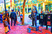 Broadway Digital Art Metal Prints - The Street Performer . Photo Artwork Metal Print by Wingsdomain Art and Photography