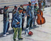 Singers Pastels - The Street Singers of NYC by Joan Wulff