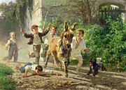 Donkey Painting Prints - The Street Urchins Print by F Palizzi