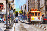 Big Cities Digital Art Prints - The Streets of San Francisco . 7D7263 Print by Wingsdomain Art and Photography